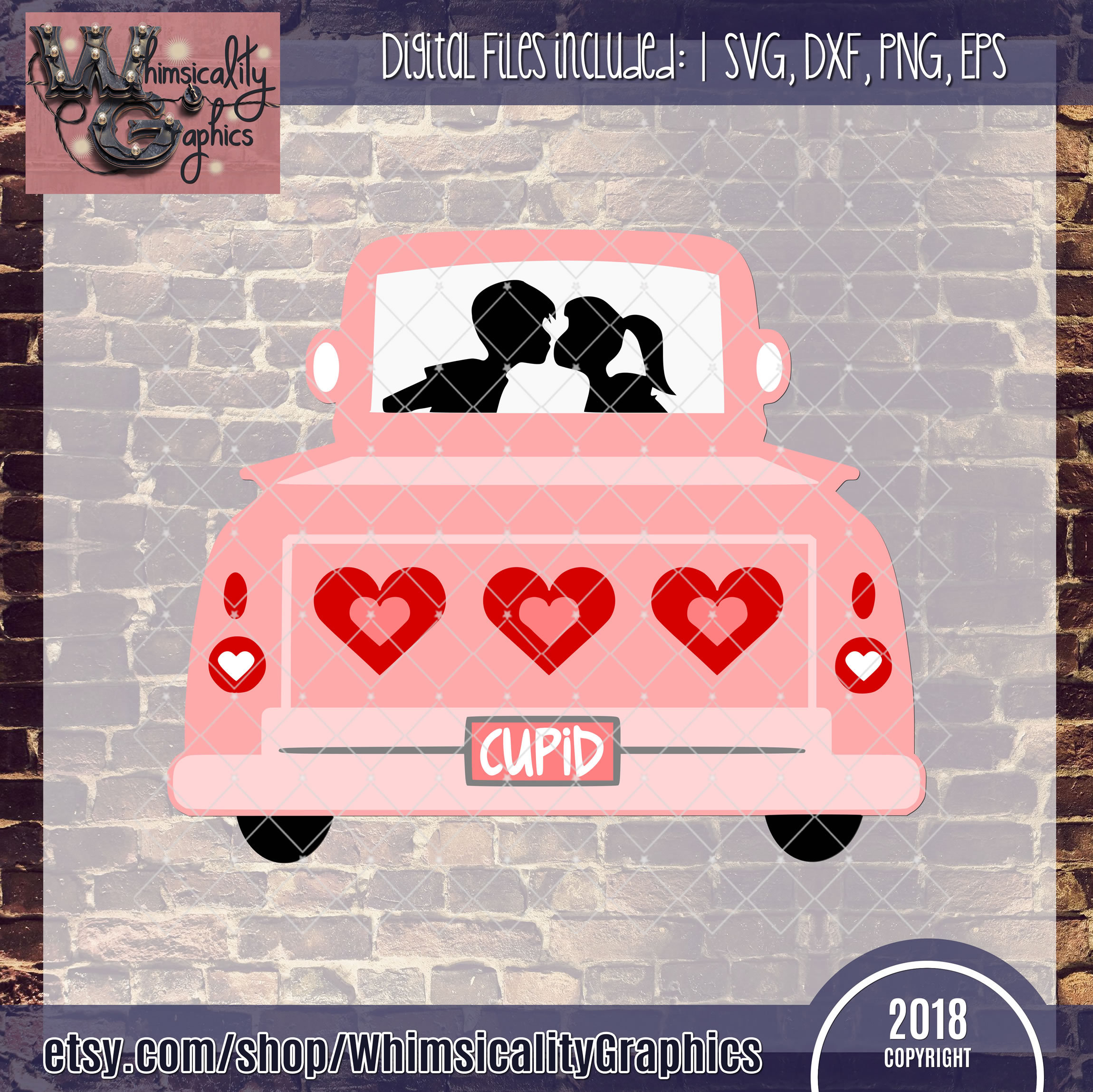 Valentines Day Truck Svg Dxf Png Eps Whimsicality Graphics