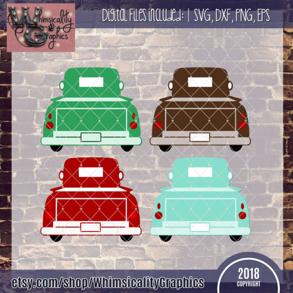 Antique Truck Tailgate Up SVG, DXF, PNG, EPS