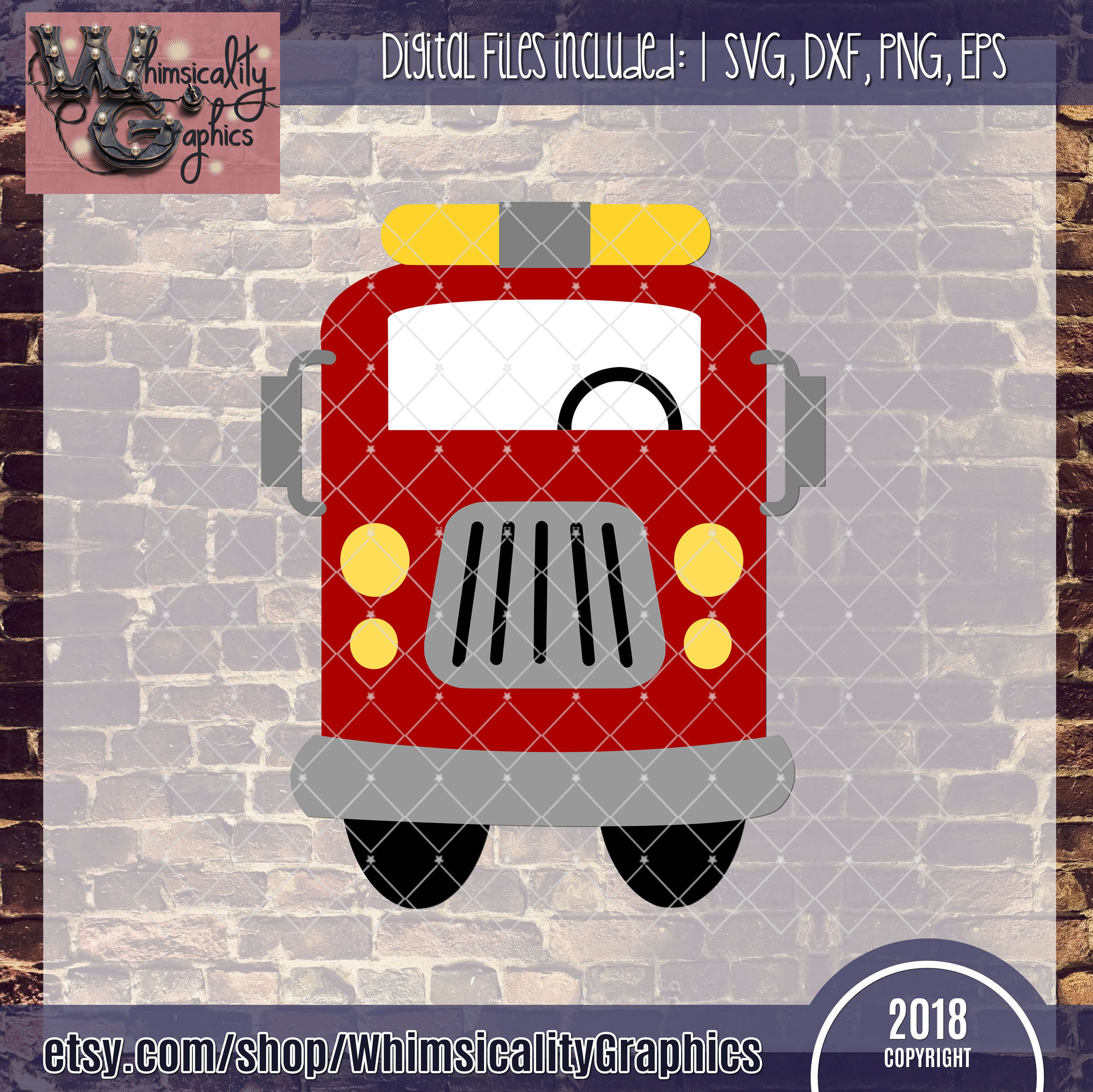 Whimsical Fire Truck Svg Dxf Png Eps
