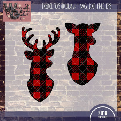 Buffalo Plaid Deer Set