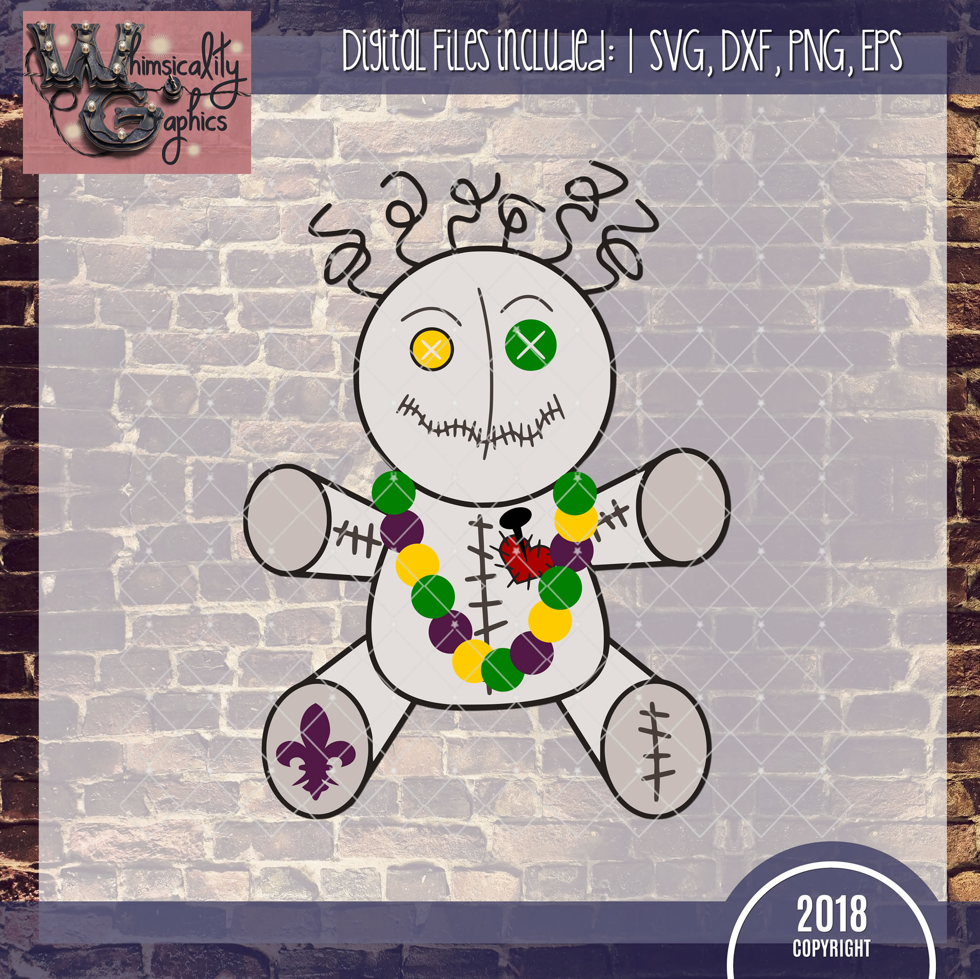 Mardi Gras Voodoo Doll SVG, DXF, PNG, EPS