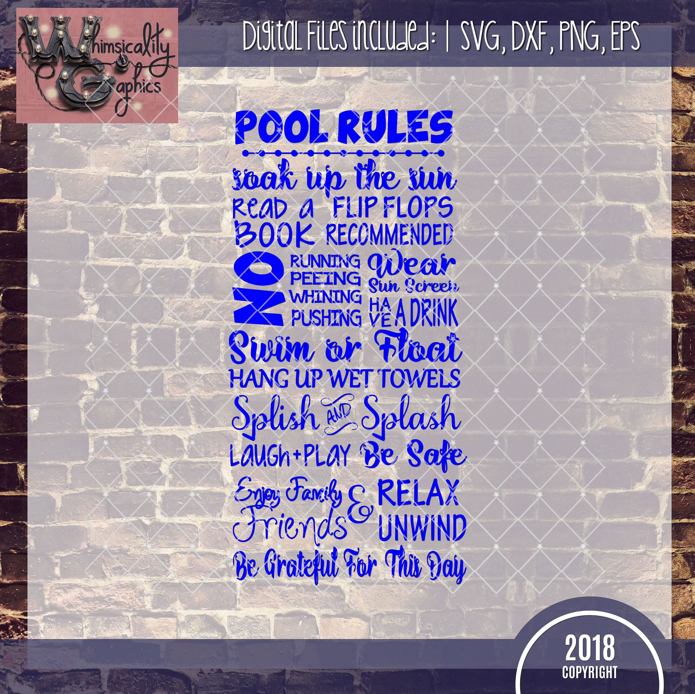 Summer pool rules svg dxf png eps whimsicality graphics for Pool design rules