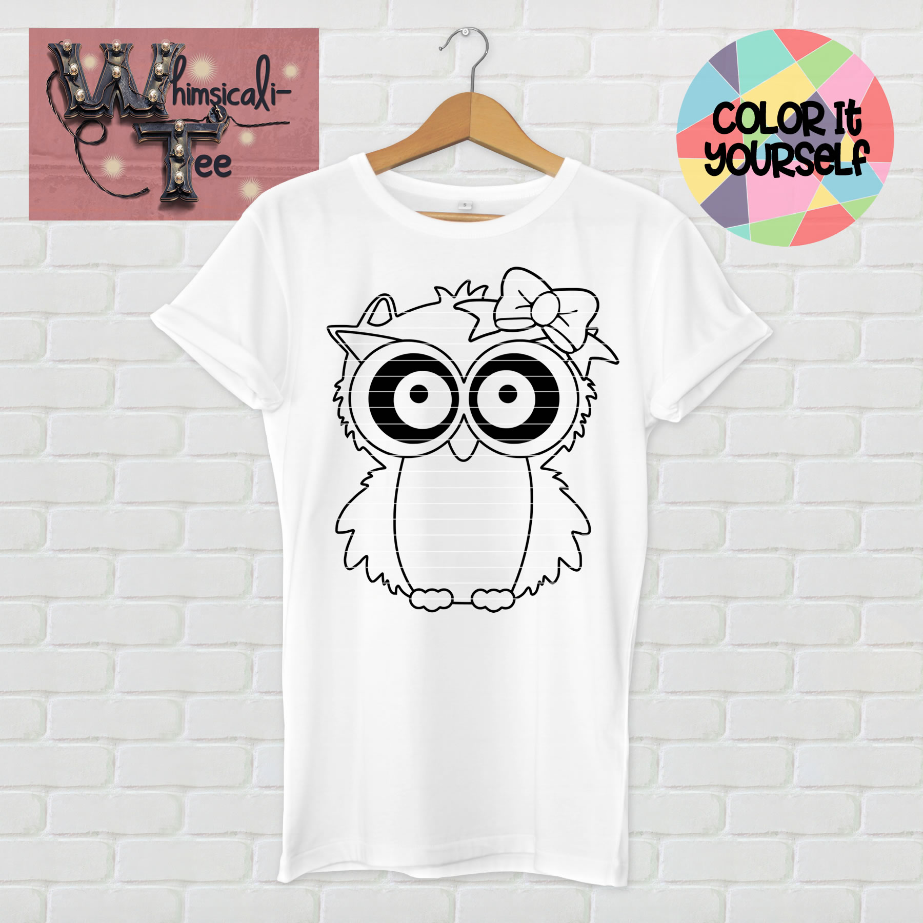 color it yourself owl shirt