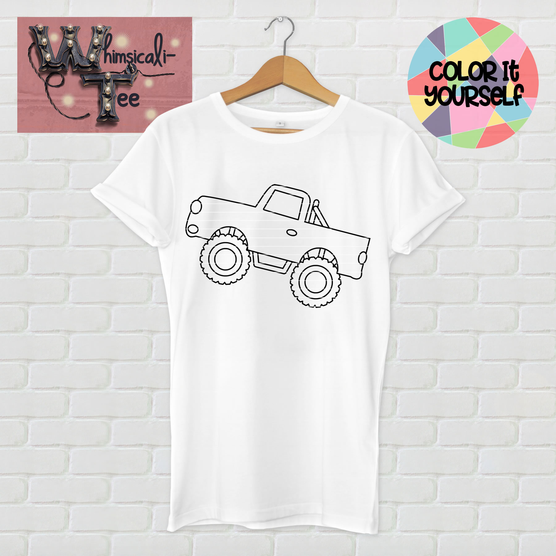 color it yourself monster truck shirt