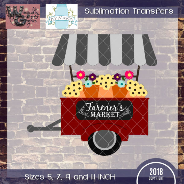 WGS119 Farmers Market Flower Cart Sublimation Transfer