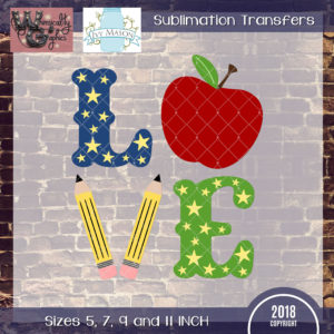WGS125 Love School Apple Sublimation Transfer