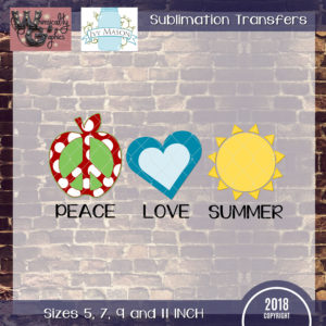 WGS135 Teacher Peace Love Summer Sublimation Transfer