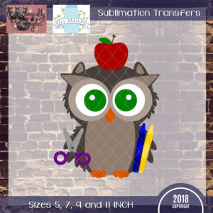 WGS144 School Owl Sublimation Transfer