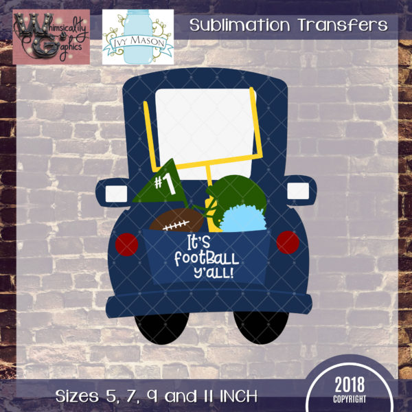 WGS170 Whimsical Football Truck Sublimation Transfer