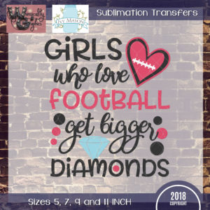 WGS230 Girls Football Diamonds Sublimation Transfer