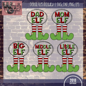 Elf Family Dad Mom Big Middle Little