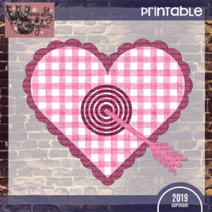 Printable Gingham Hearts Bullseye