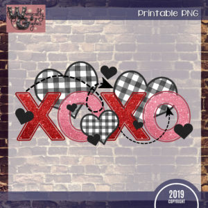 Printable Gingham XOXO Heart