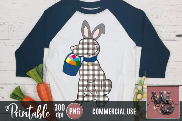 Printable Dog Easter Bunny Gingham