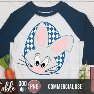 Printable Easter Bunny Peekaboo Blue Argyle