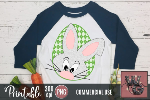 Printable Easter Bunny Peekaboo Green Argyle