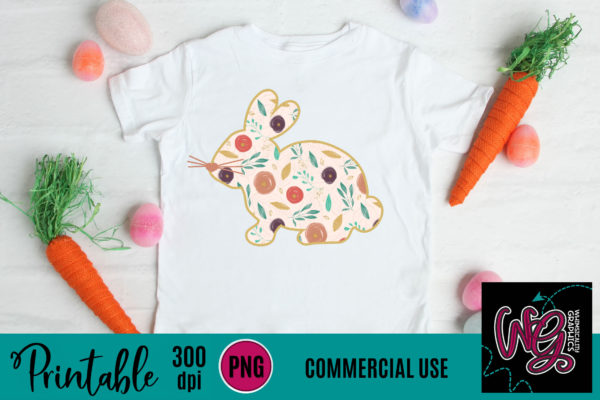 Printable Floral Easter Bunny