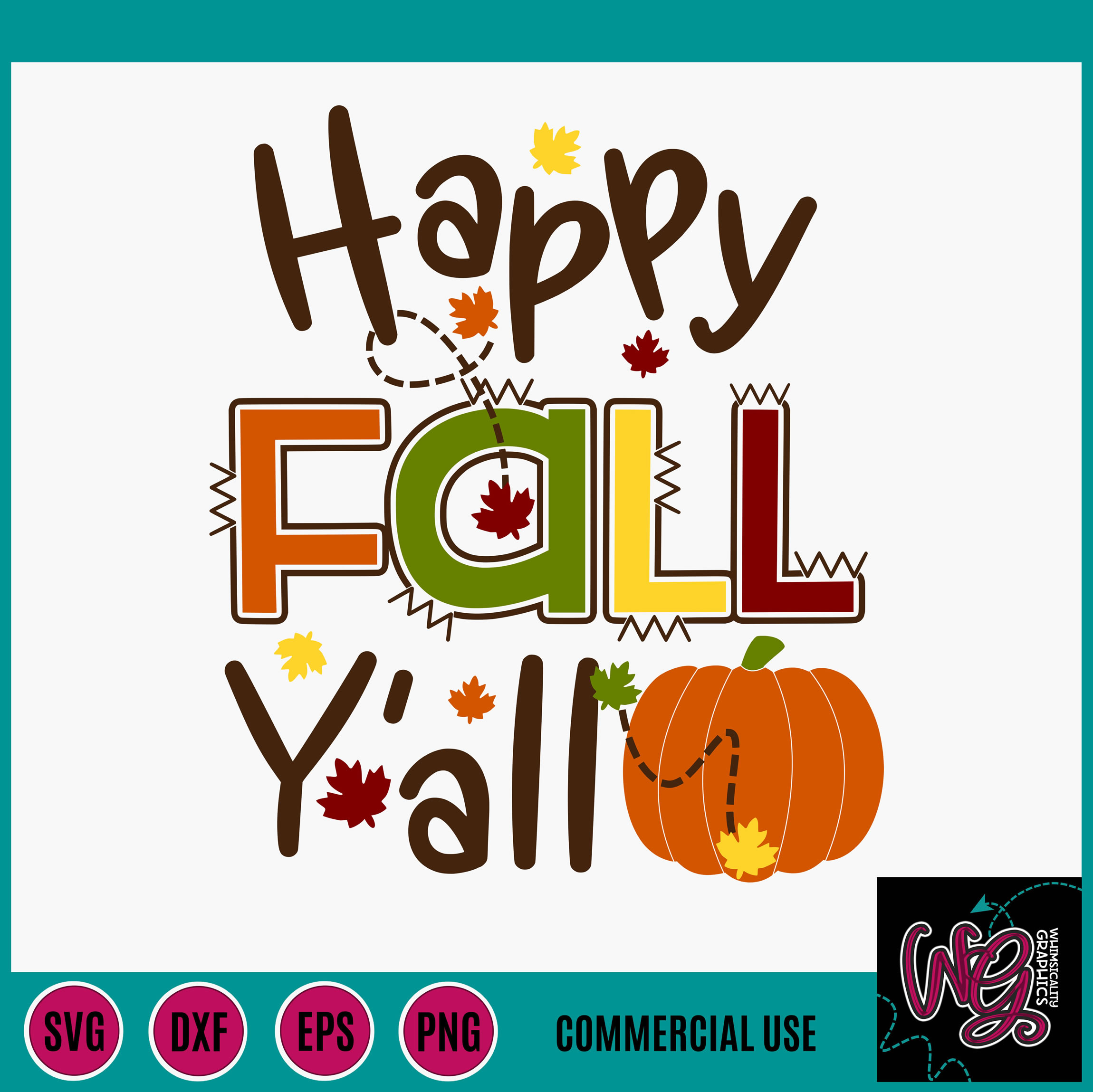 Happy Fall Y All Pumpkin Fall Leaves Svg Dxf Png Eps
