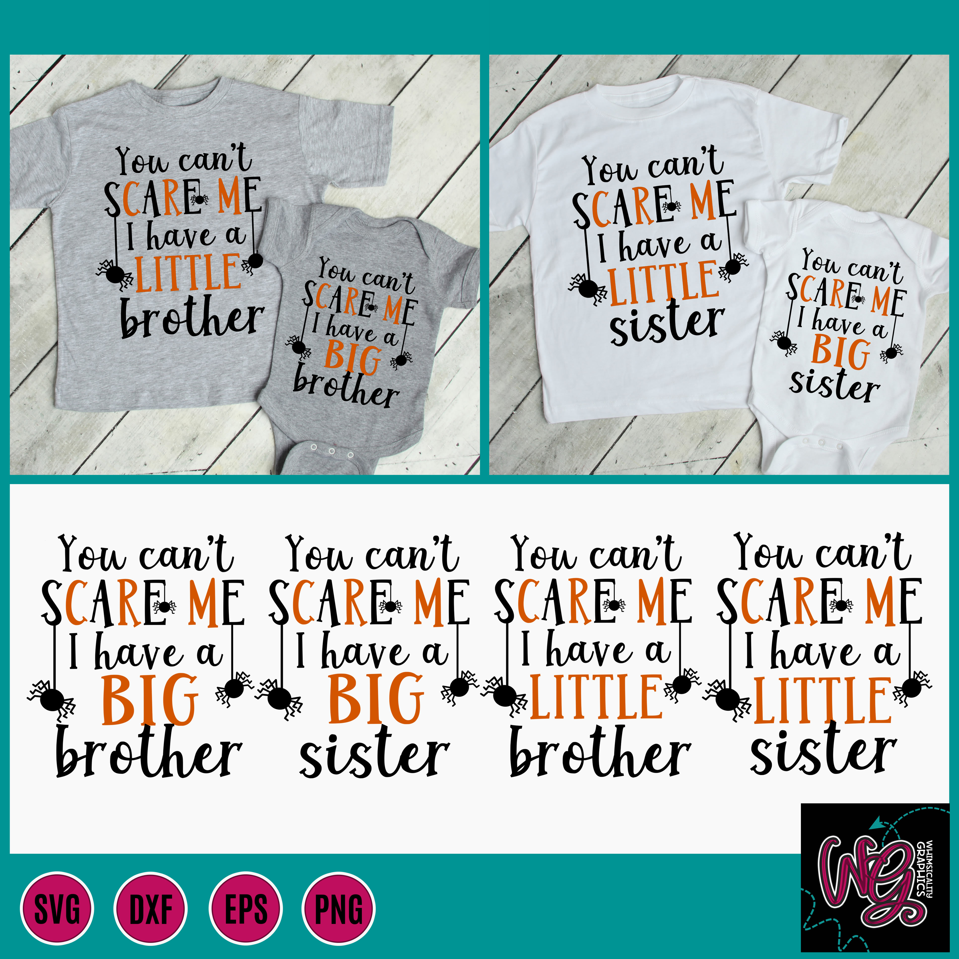 You Can T Scare Me Big Little Brother Sister Svg Dxf Png Eps